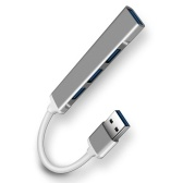4-in-1 Multifunctional USB3.0 Hub USB3.0 to USB3.0 USB2.0 Hub USB3.0 Adapter Converter Aluminum Alloy Hub for PC Laptop Grey
