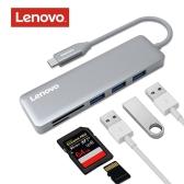 Lenovo 5-em-1 Ultra-Slim Alumínio USB Tipo-C para 3 portas Adaptador USB 3.0 USB-C Data Hub
