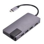 Tipo C a HD Adaptador de interfaz 8 en 1 con tres puertos de carga USB 3.0 PD 3.0