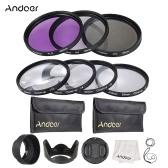 Andoer 55mm UV + CPL + FLD + zestaw filtrów soczewek do makrofotografii z uchwytem na kieszonkę na baterie Carry Pouch