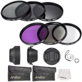 Andoer 62mm Lens Filter Kit UV + CPL + FLD + ND (ND2 ND4 ND8) avec le chiffon Carry Pouch Holder / Cap Lens Cap / Objectif / Tulip & Rubber Parasoleils / Nettoyage