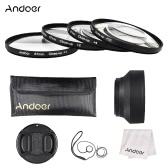 Andoer 67mm Close-up Set de filtro de lente macro (+ 1 +2 +4 +10) con accesorios de lente (bolsa de lente + capucha de lente plegable + tapa de lente + sostenedor de tapa de lente + paño de limpieza)