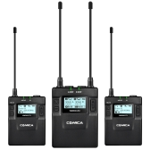 CoMica CVM-WM300 (A) UHF 96-Kanal-Zink-Legierung wiederaufladbare Wireless-Mikrofon Empfänger + Dual Lavalier Mic-Sender-System