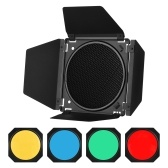 Godox BD-04 Barn Door Barndoor Kit with Honeycomb Grid 4 Color Gel Filters