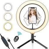 Светодиодный кольцевой светильник 10,2 дюйма с регулируемой яркостью и регулируемой яркостью. Кольцевой светильник с подставкой для штатива и держателем для мобильного телефона.