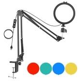 Andoer 6-Zoll-LED-Videoleuchte-Kit in runder Form, einschließlich 1 * 5600K USB-LED-Fülllicht mit Kaltschuhhalterung + 1 * Metall-Lichtstativ für Tischmontage + 1 * Flexibler Metallkugelkopf + 4 * Farbfilter (Rot / Gelb / Blau / Grün) für Live-Streaming Online-Unterricht Videokonferenz Beleuchtung Produktfotografie