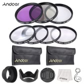 Andoer 58mm UV + CPL FLD ++ Close-up(+1+2+4+10) Objektiv Filter Kit mit Carry Pouch + Objektivdeckel + Kappe Halterung + Tulip & Rubber Objektiv Hauben + Objektiv-Reinigungstuch