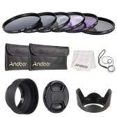Andoer 67mm Lens Filter Kit UV + CPL + FLD + ND (ND2 ND4 ND8) avec le chiffon Carry Pouch Holder / Cap Lens Cap / Objectif / Tulip & Rubber Parasoleils / Nettoyage