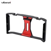 Ulanzi Handheld Smartphone Film Making Rig Handle Estabilizador Soporte Soporte Cradle Phone Clip w / Two Hot Shoe Mount para Apple iPhone 7 / 7s / 6s / 6 para Samsung Huawei Video Photo Studio