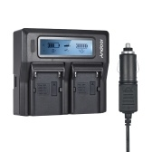 Andoer NP-F970 Dual Channel Digital Camera Battery Charger LCD Display for Sony NP-F550/F750/F950/ NP-FM50/FM500H/QM71 with DC Car Charger
