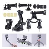 Universal Mount Base Zubehör Halter Unterstützung mit Saugnapf + Flat / Round Mount + Fahrradhalterung für Sport Action Cam 360 ° VR Videokamera
