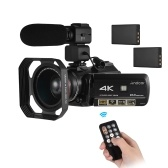 "Andoer AC3 4K UHD 24MP Digital Video Camera Camcorder DV Recorder 30X Zoom WiFi Connection IR Night Vision 3.0"" LCD Touchscreen Hot Shoe Mount with 2pcs Rechargeable Batteries + Extra 0.39X Wide Angle Lens + External Microphone + Lens Hood"