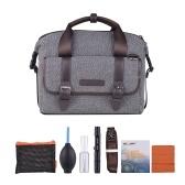 K & F KONZEPT Digitale DSLR Kamera Umhängetasche stoßfest Handtasche Fall mit Objektiv Reinigungsset für Canon Nikon Sony Outdoor Foto Video