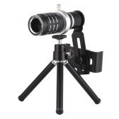 12X Optical Zoom Mobile Phone Telephoto Lens with Tripod for iPhone Samsung HTC Nokia Sony Black