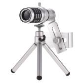 Teleobjetivo con zoom tríptico para teléfono móvil con zoom óptico de 18X para iPhone Samsung HTC Nokia Sony Silver