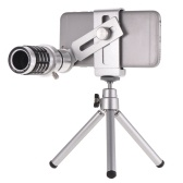 12X Optical Zoom Mobile Phone Telephoto Lens with Tripod for iPhone Samsung HTC Nokia Sony Silver