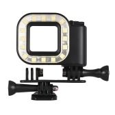 Action Camera LED Diving Light Fill-in Lamp 16pcs LEDs 300LM 3 Lighting Modes Underwater 30m with Rechargeable Battery for GoPro Hero 7/6/5s/5/4s/4/3+/3 Sports Cameras