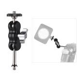 Multifunktions-Aluminiumlegierung-Arm-Halterungs-Klammer-Adapter CNC, der Herstellung mit Doppelkugelkopf 1/4 Zoll-Schraube für Kamera-Monitor LED Videolicht-Stativ-Kameragehäuse