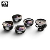 APEXEL APL-HD5V2 5in1 HD Mobile Phone Lens Set- 2X Telephoto Lens 195° Fisheye 110° Wide Angle 170° Super Wide Angle 10x Macro Lens for iPhone Samsung Huawei Pixel Xiaomi Dual Lens/Single Lens Smartphones