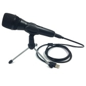 USB Condenser Microphone Computer Gaming Live Streaming Meeting Recording Mic with Tripod Stand