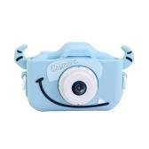 20MP Детская цифровая камера 1080P Видеокамера 2,0-дюймовый IPS-экран Двойные объективы для камеры Игрушки для защиты от падений для девочек и мальчиков Встроенный аккумулятор с ремешком Зарядный кабель Розовый рог