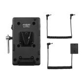Andoer V-Mount V-Lock Batterieplattenadapter mit Super Clamp Krabbenzange Clip NP-FZ100 Ersatzbatterie Ersatz für Sony A7Ⅲ A7RⅢ A9 A7R Ⅳ A6600 Kamera Videolicht Monitor Audiorecorder Mikrofon
