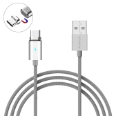 dodocool 3.9ft / 1.2m Detachable Magnetic USB-C Charge & Sync Cable with LED Indicator Silver