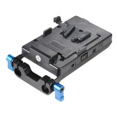 V Type Battery Plate with 15mm Rod Clamp E6 Battery Adapter for Sony V-Mount Battery for Canon 5D2 5D3 60D 7D 6D DSLR Rig for BMCC BMPC