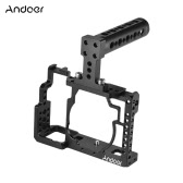 Andoer Aluminiumlegierung Kamera Cage + Top Handle + 15mm Rod Baseplate Kit