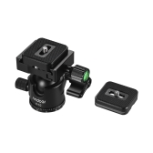 Andoer C-10 Aluminiumlegierung Kamera Stativ Kugelkopf Mini Kugelkopf Low Schwerpunkt + 1 stück Ersatz Schnellwechselplatte für Canon Nikon Sony DSLR ILDC Kameras max. Laden Sie 6kg Schwarz