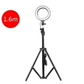 Adjustable 160mm Photography LED Selfie Light-Ring Stepless Lighting Dimmable Fill Light Lamp With USB For Live Streaming Camera Video Beauty (1600mm Stand)