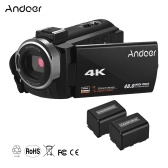 Andoer Portable 4K HD Digital Video Camera Camcorder DV 16X Digital Zoom 3 Inch TouchScreen WiFi Connection IR Night Vision Hot Shoe Mount with 2pcs Batteries