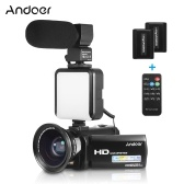 Andoer HDV-201LM 1080P FHD Digital Video Camera Camcorder DV Recorder 24MP 16X Digital Zoom 3.0 Inch LCD Screen with 2pcs Rechargeable Batteries + Extra 0.39X Wide Angle Lens + External Microphone + External Mini LED Light