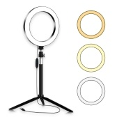 Portable 20cm / 8 Inch Diammable 3200K-5500K Bi-Color Ring Video Light