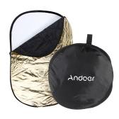 """Andoer 24」* 36""""/60 * 90 cm 5 の 1 (金、銀、白、黒、半透明) マルチ ポータブル折りたたみ可能なスタジオ写真写真反射板"""