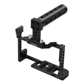 Andoer Camera Cage + Top Handle Kit Aluminum Alloy with Dual Cold Shoe Mount 1/4 Inch Screw