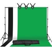 Kit per fondali fotografici in studio con staffa in metallo da 2 * 3 m / 6,6 * 10 piedi + 3 pezzi 1.6 * 3 m / 5,2 * 10 piedi Sfondo per fondali (nero / bianco / verde) + 3 morsetti per fondale + borsa per il trasporto
