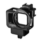 Andoer G9-4 Action Camera Cage vidéo Boîtier de protection en plastique Vlog Boîtier de protection avec double support de chaussure froide 55mm Adaptateur de filtre Extension Accessoire de remplacement pour GoPro Hero 9