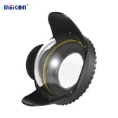 MEIKON Caméra sous-marine 200mm Fisheye Grand angle Lome Dome Port Housse Shade Cover 60m / 197ft Adaptateur rond imperméable à l'eau de 67mm pour boîtier de plongée de caméra