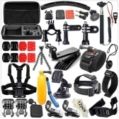 49-en-1 Kit de accesorios para GoPro Hero5 Black Hero5 Session Hero 4 Paquete de accesorios para sesión Hero en GoPro Hero3 + 3 2 1 SJ4000 Cam Xiaomi Skiing Cycle Hiking Outdoor Sport Accessories