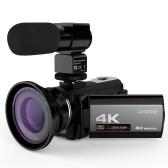 Andoerポータブル4K 48MP WiFiデジタルビデオカメラビデオカメラ