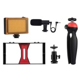 PULUZ Camera Shooting Kit Smartphone Handheld Filmmaking Video Rig + LED Studio Light + Video Mikrofon + Mini zestawy do montażu na trójnogu z zimną stopką Statyw Head do zdjęć na zewnątrz Transmisja na żywo