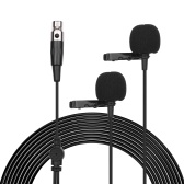 ACEMIC XM2 Dual-head Lavalier Microphone Clip-on Condenser Omnidirectional Mic 3-pin Mini XLR Plug 6m/20ft Long Cable