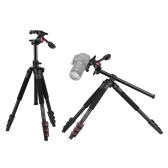 Andoer TTT-007 162cm/63.8 Inch Extendable Aluminum Alloy Camera Video Tripod+3-Way Damping Video Head Kit Horizontal Mount Flip Buckle Design with Carrying Bag for DSLR ILDC Cameras Max. Load 8kg