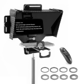 Universal Teleprompter Portable Prompter with BT Remote Control Lens Adapter Ring