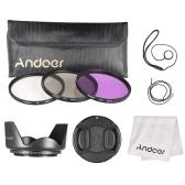 Andoer Kit de filtro de 72mm (UV + CPL + FLD) + Nylon lleva bolsa tapa de la lente titular de tapa lente + parasol + lente paño de limpieza