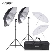 Andoer Off Camera Double Speedlight Flash Shoe Mount Kit de parapluie souple pivotant 2 * Support lumineux 2m +2 * 83cm Parapluie doux blanc translucide +2 * 83cm Parapluie noir et argent +2 * Speedlite Support de montage en forme de chaussure en nylon +1 Sac de transport pour Canon Nikon YONGNUO Neewer Hot Shoe Flash