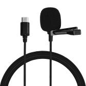 Micrófono de solapa de condensador Cable de 1,5 m de una sola cabeza para teléfonos inteligentes tipo C Tablet Laptop