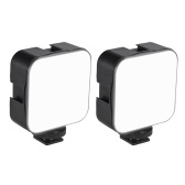 docooler Mini LED Video Light Photographie Fill-in Lamp 6500K Dimmable 5W avec Cold Shoe Mount Adapter Compatible avec Canon Nikon Sony DSLR Camera, Pack of 2pcs