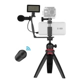 Phone Video Vlog Kit with Ball Head Tripod Microphone LED Light Phone Clamp Mount Adapter Remote Shutter with 3 Diffusers